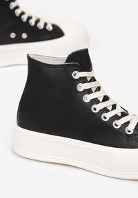 Born2be - Czarne Trampki Barbiche. Wysokość cholewki: za kostkę. Nosek buta: okrągły. Zapięcie: sznurówki. Kolor: czarny. Materiał: jeans, guma. Szerokość cholewki: normalna. Obcas: na platformie