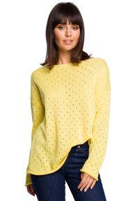 MOE - Żółty Luźny Ażurowy Sweter. Kolor: żółty. Materiał: akryl, bawełna. Wzór: ażurowy