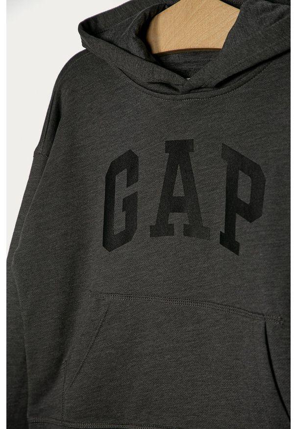Szara bluza GAP z kapturem, z nadrukiem