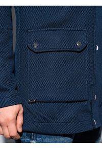 Ombre Clothing - Płaszcz męski jesienny C454 - granatowy - XXL. Typ kołnierza: kaptur. Kolor: niebieski. Materiał: poliester, dzianina, elastan. Sezon: jesień