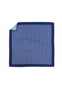 Adam Collection - Granatowo-biała poszetka w geometryczny wzór E269. Kolor: niebieski, biały, wielokolorowy. Wzór: geometria