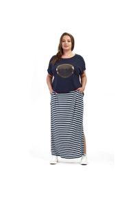 Niebieska spódnica Moda Size Plus Iwanek w paski, na lato