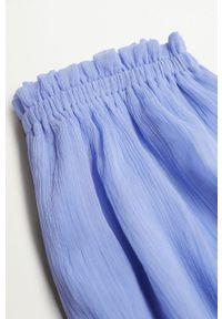 Fioletowe spodnie Mango Kids gładkie, z podwyższonym stanem
