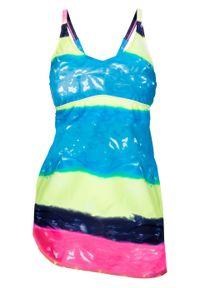 Niebieski strój kąpielowy bonprix w kolorowe wzory, z odpinanymi ramiączkami