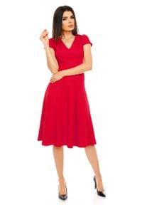 Nommo - Czerwona Elegancka Rozkloszowana Sukienka z Mini Rękawkiem. Kolor: czerwony. Materiał: poliester, wiskoza. Długość rękawa: krótki rękaw. Styl: elegancki. Długość: mini