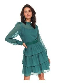 TOP SECRET - Sukienka z tkaniny plumetti. Okazja: na imprezę. Typ kołnierza: kołnierzyk stójkowy. Kolor: zielony. Materiał: tkanina. Długość rękawa: długi rękaw. Sezon: zima. Styl: elegancki