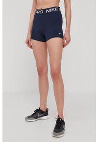 Nike - Szorty. Kolor: niebieski. Wzór: nadruk