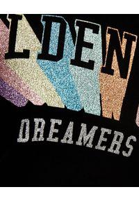 GOLDEN GOOSE - Czarny t-shirt z logo. Okazja: na co dzień. Kolor: czarny. Materiał: jeans, bawełna, zamsz. Wzór: aplikacja. Styl: klasyczny, casual