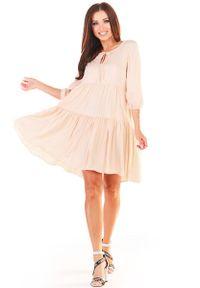 Awama - Sukienka Mini w Stylu Boho - Beżowa. Kolor: beżowy. Materiał: wiskoza, elastan. Styl: boho. Długość: mini