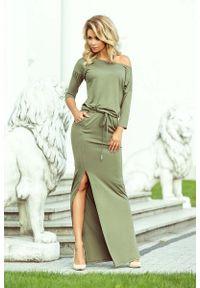Numoco - Oliwkowa Dzianinowa Maxi Sukienka z Rozporkiem. Kolor: oliwkowy. Materiał: dzianina. Wzór: kwiaty. Długość: maxi