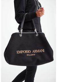 Emporio Armani - TOREBKA EMPORIO ARMANI. Wzór: haft. Dodatki: z haftem. Materiał: skórzane. Rodzaj torebki: do ręki