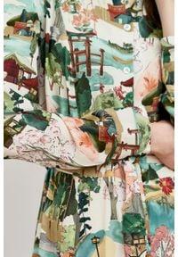 Marie Zélie - Sukienka Colette Tokio. Materiał: skóra, wiskoza, materiał. Długość rękawa: długi rękaw. Wzór: gładki. Typ sukienki: szmizjerki. Styl: elegancki. Długość: midi