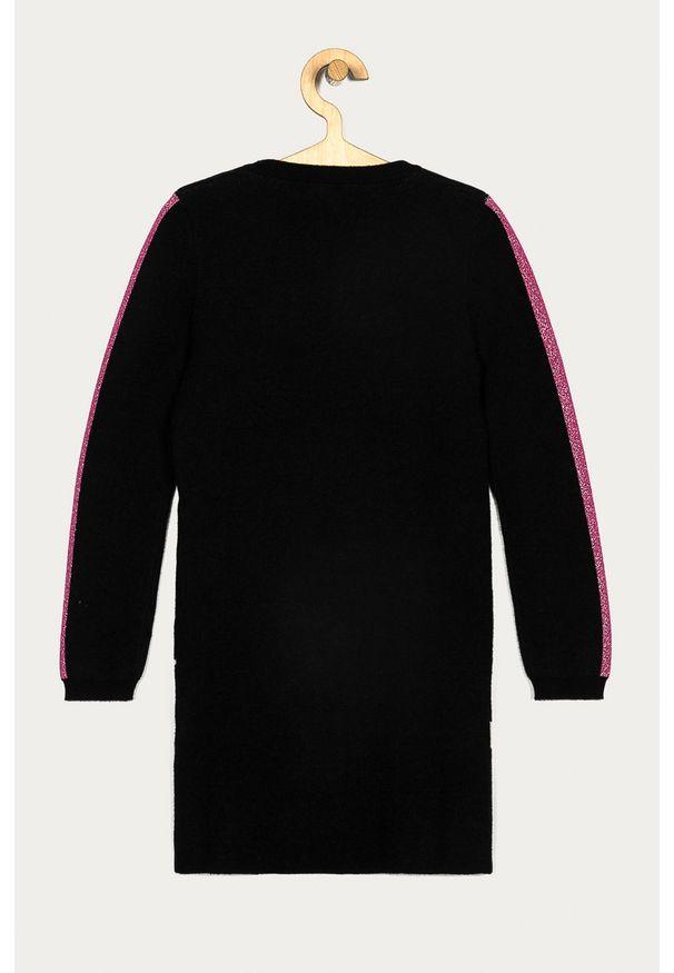 Czarna sukienka Guess Jeans z okrągłym kołnierzem, mini, dopasowana, z nadrukiem