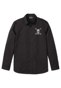 Czarna koszula bonprix długa, z haftami, z długim rękawem