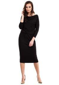 Czarna sukienka dzianinowa MOE midi, casualowa, na co dzień