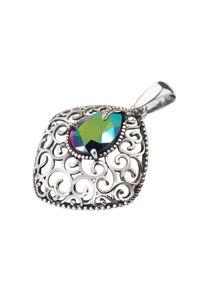 Polcarat Design - Srebrny oksydowany wisiorek z kryształem Swarovski W 2075. Materiał: srebrne. Kolor: srebrny. Wzór: aplikacja. Kamień szlachetny: kryształ