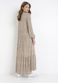 Born2be - Ciemnobeżowa Sukienka Krynvia. Kolor: beżowy. Długość rękawa: krótki rękaw. Wzór: kwiaty. Sezon: lato. Długość: maxi