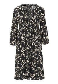 Happy Holly Wzorzysta sukienka z marszczeniem Alessi Czarny we wzory female czarny/ze wzorem 36/38. Typ kołnierza: dekolt w serek, kołnierzyk stójkowy. Kolor: czarny. Materiał: jersey. Wzór: kwiaty