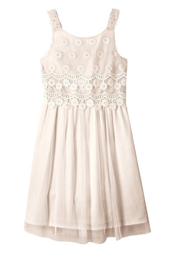 Sukienka dziewczęca na uroczyste okazje bonprix biel wełny. Kolor: biały. Materiał: wełna