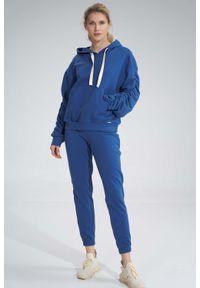 Figl - Klasyczne Dresowe Spodnie bez Kieszeni - Niebieskie. Kolor: niebieski. Materiał: dresówka