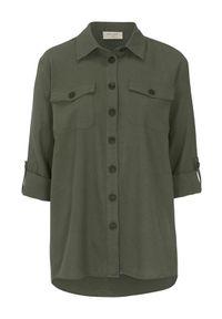 Freequent Koszula z mieszanki lnianej Lava oliwkowy female zielony S (38). Kolor: zielony. Materiał: len. Długość rękawa: długi rękaw. Długość: długie. Wzór: aplikacja. Styl: klasyczny, elegancki
