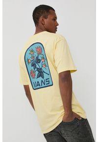 Vans - T-shirt bawełniany. Okazja: na co dzień. Kolor: beżowy. Materiał: bawełna. Wzór: nadruk. Styl: casual