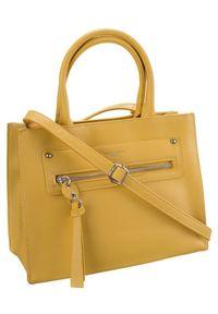 DAVID JONES - Torebka damska żółta David Jones 6267-2. Kolor: żółty. Materiał: skórzane. Styl: klasyczny