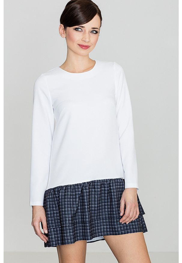 e-margeritka - Sukienka mini w kratę z falbaną czarną - xl. Okazja: na co dzień. Kolor: czarny. Materiał: poliester. Długość rękawa: długi rękaw. Typ sukienki: proste. Styl: casual. Długość: mini