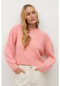 Różowy sweter mango długi, z długim rękawem