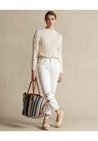 Ralph Lauren - RALPH LAUREN - Beżowy sweter. Okazja: na co dzień. Typ kołnierza: polo. Kolor: beżowy. Materiał: jeans, wełna, bawełna. Wzór: ze splotem. Sezon: wiosna. Styl: casual #3