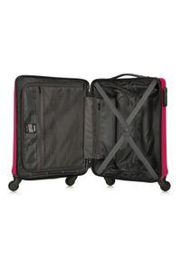 Wittchen - Walizka kabinowa z ABS-u żłobiona. Kolor: różowy. Materiał: guma. Styl: klasyczny