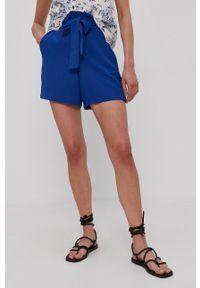 Vila - Szorty. Kolor: niebieski. Materiał: tkanina. Wzór: gładki