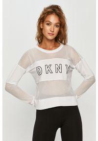 Biała bluza DKNY długa, casualowa, z nadrukiem