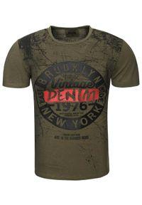 Zielony t-shirt z nadrukiem Recea casualowy, na co dzień, z krótkim rękawem