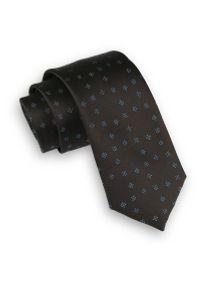 Ciemny Brązowy Elegancki Krawat -Angelo di Monti- 6 cm, Męski, w Figury Geometryczne. Kolor: beżowy, brązowy, wielokolorowy. Wzór: geometria. Styl: elegancki
