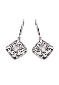 Polcarat Design - Kolczyki srebro cyrkonia K 1536. Materiał: srebrne. Wzór: aplikacja. Kamień szlachetny: cyrkonia