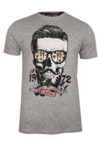 Szary t-shirt Brave Soul z nadrukiem, casualowy, na co dzień
