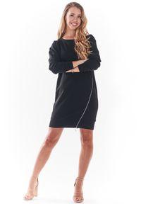 Infinite You - Czarna Sportowa Sukienka z Metalowym Zamkiem. Kolor: czarny. Materiał: bawełna, elastan. Typ sukienki: sportowe. Styl: sportowy