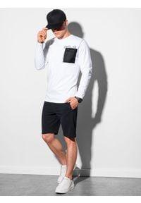 Ombre Clothing - Longsleeve męski z nadrukiem L130 - biały - XXL. Kolor: biały. Materiał: tkanina, bawełna. Długość rękawa: długi rękaw. Wzór: nadruk