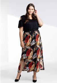 Moda Size Plus Iwanek - Sukienka Dolores w kolorowy print liści XXL OVERSIZE LATO. Okazja: na co dzień. Materiał: elastan, tkanina, materiał, wiskoza, dzianina. Wzór: kolorowy, nadruk. Sezon: lato. Typ sukienki: oversize. Styl: casual #1