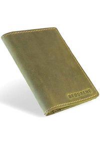 Skórzany cienki portfel slim wallet BRODRENE SW05 zielony. Kolor: zielony. Materiał: skóra