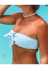 SUSAN SWIMWEAR - Góra od bikini Baby Blue. Kolor: niebieski. Materiał: tkanina, satyna. Wzór: aplikacja