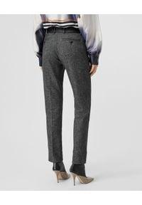 Burberry - BURBERRY - Tweedowe spodnie z wełny. Kolor: szary. Materiał: wełna. Styl: elegancki
