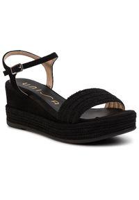 Czarne sandały Unisa na średnim obcasie, na co dzień, casualowe