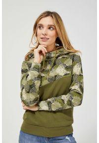 MOODO - Bawełniana bluza z kapturem. Typ kołnierza: kaptur. Materiał: bawełna. Długość rękawa: długi rękaw. Długość: długie. Wzór: geometria, nadruk