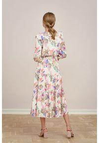 Marie Zélie - Sukienka Sophia Oricula. Materiał: bawełna, wiskoza, materiał, skóra, guma. Długość rękawa: krótki rękaw. Długość: maxi