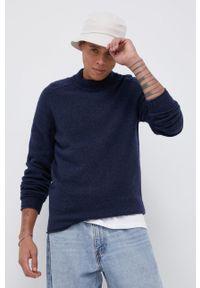 !SOLID - Sweter wełniany. Okazja: na co dzień. Kolor: niebieski. Materiał: wełna. Styl: casual