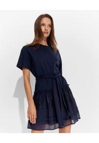 Niebieska sukienka mini Ermanno Firenze prosta, casualowa, z aplikacjami, na co dzień