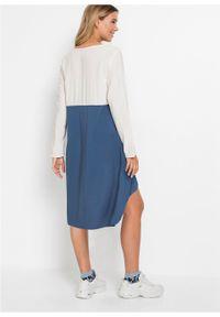 Sukienka oversize bonprix biel wełny - niebieski dżins. Kolor: biały. Materiał: wełna. Typ sukienki: oversize