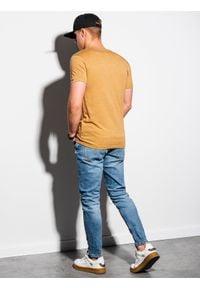 Żółty t-shirt Ombre Clothing melanż